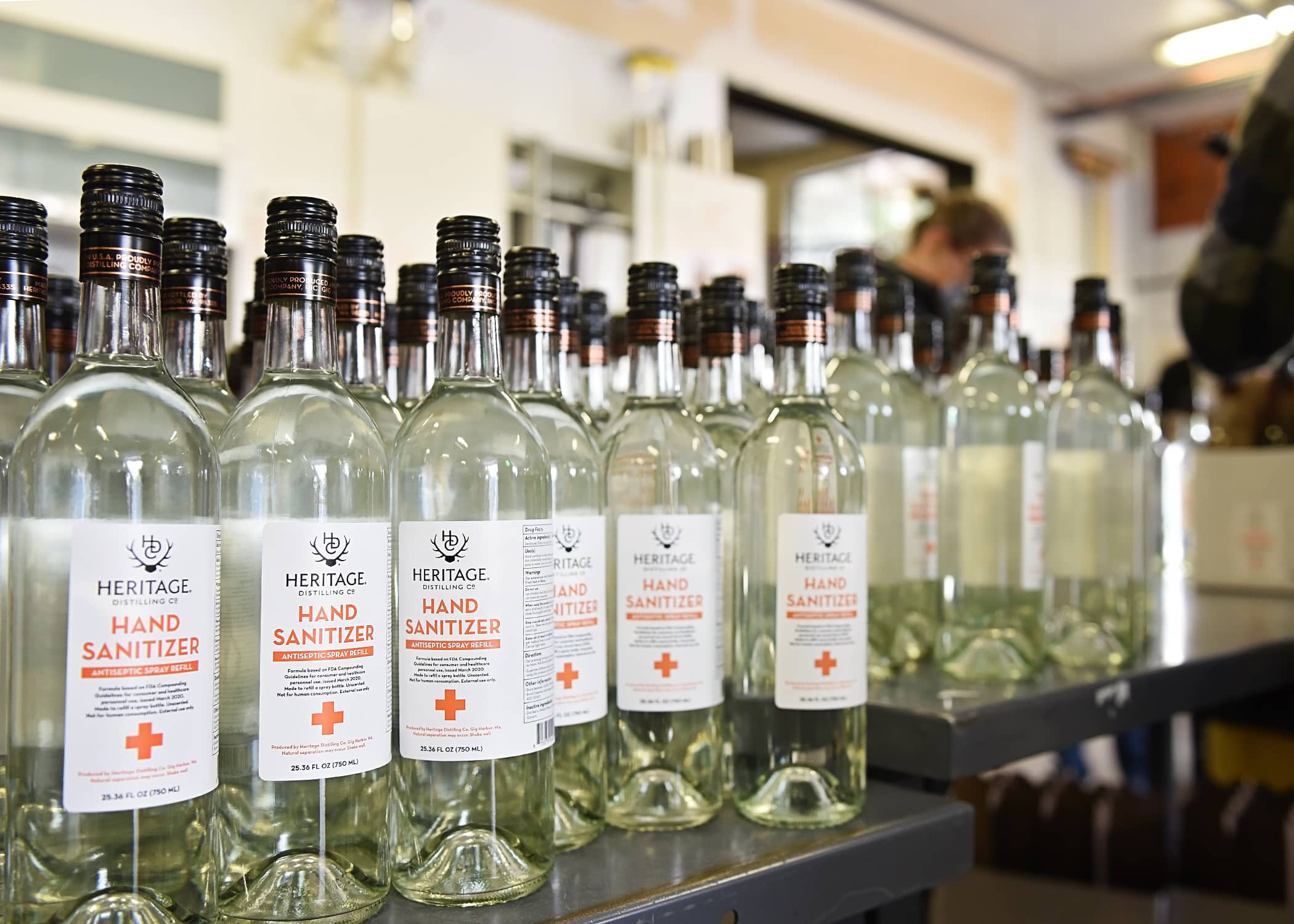 Heritage Distilling Hand Sanitizer available for purchase in tasting rooms