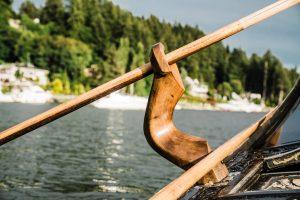 A hand-carved oarlock on a gondola in Gig Harbor, Washington