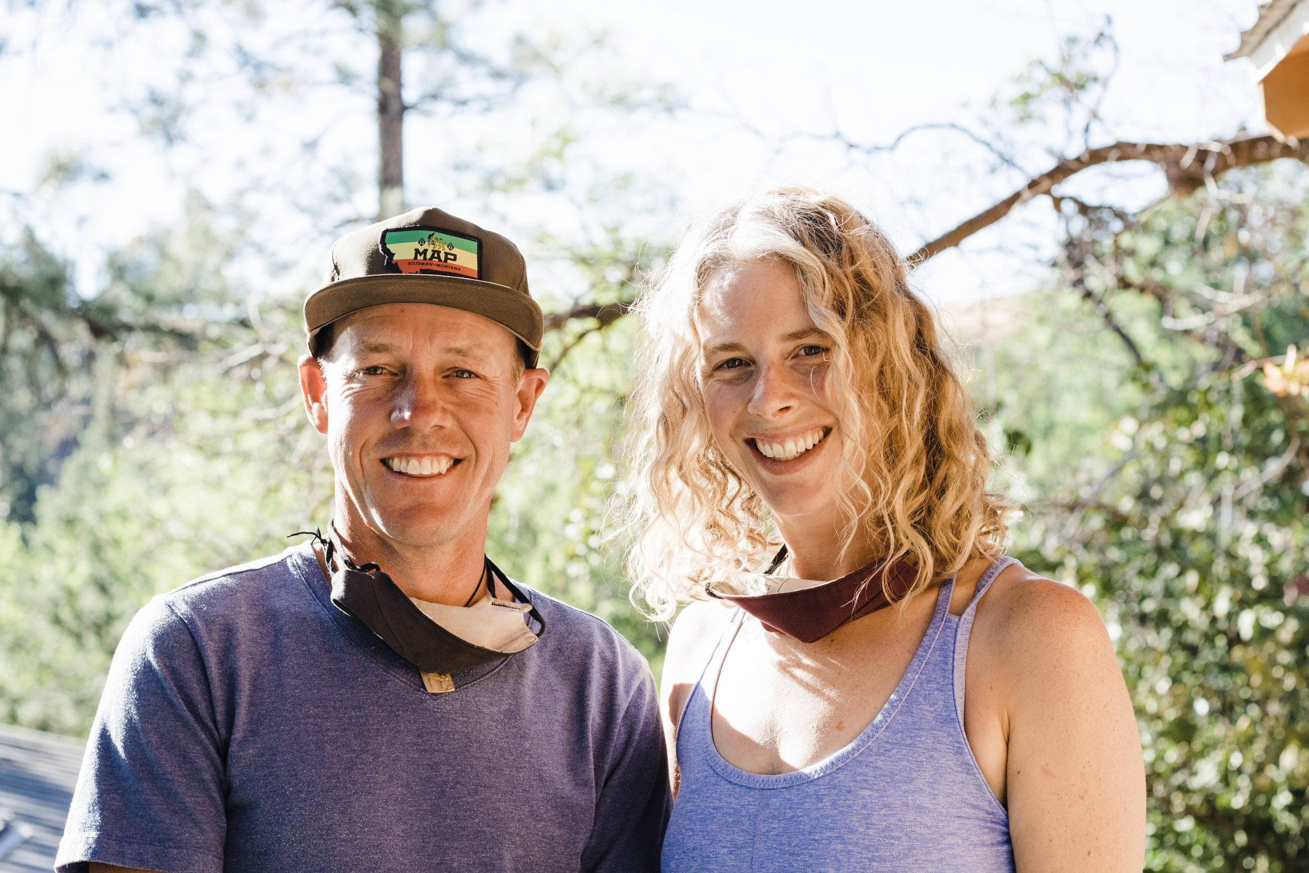 Sunlit portrait of Paul Smotherman and Liza Hodgins, owners and operators of the North Cascades Mountain Hostel