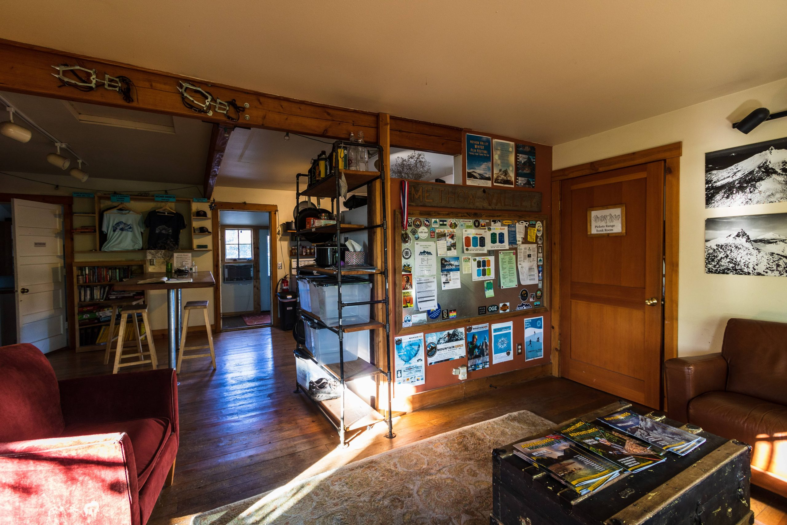 The front entryway and common area of the North Cascades Mountain Hostel