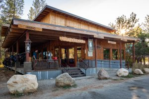 Exterior shot of a gear shop in Mazama, Washington