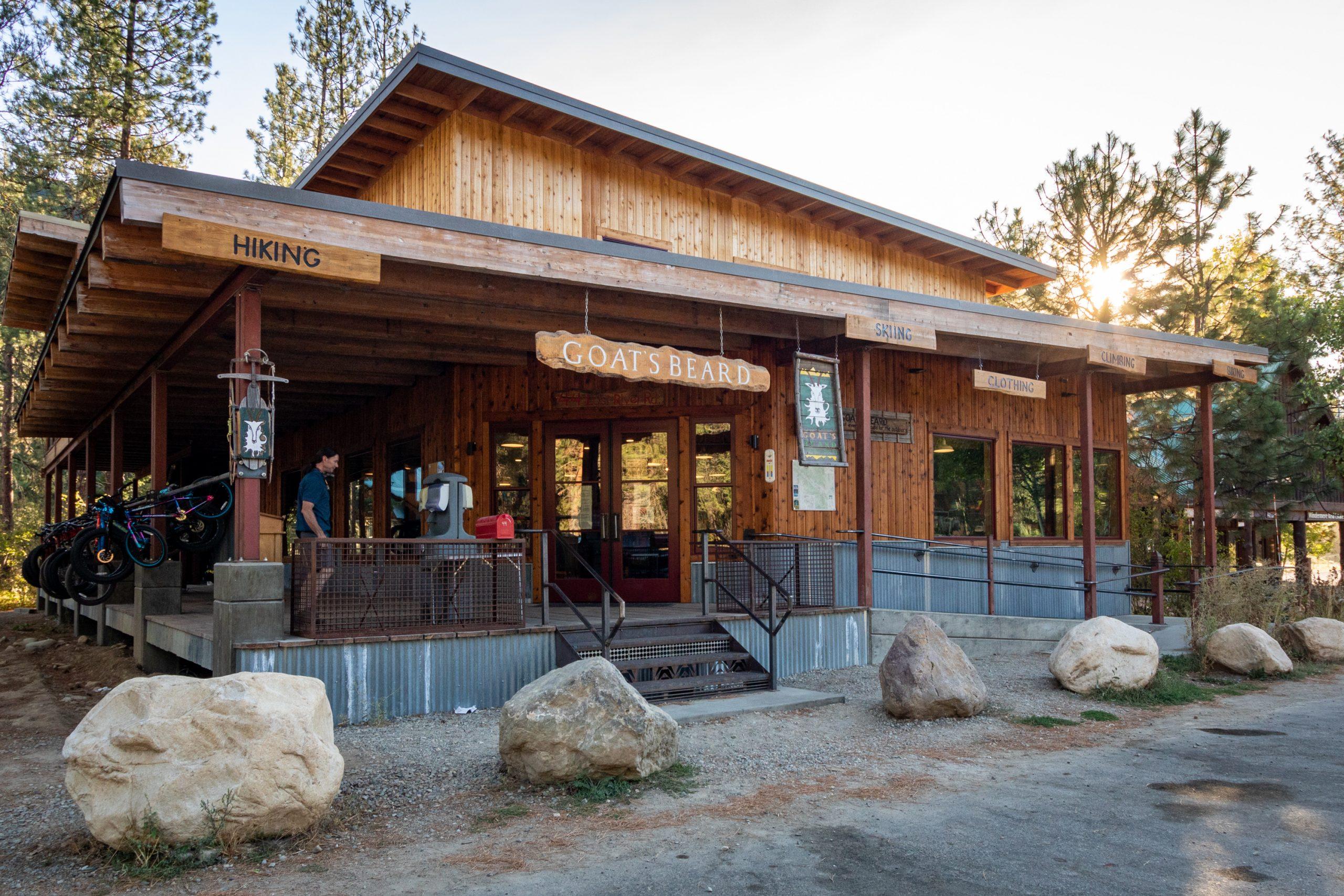 Exterior shot of a gear shop in Mazama, Washington